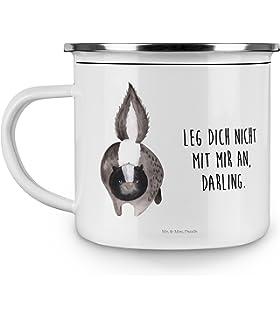 Farbe Grau Pastell Camping Emaille Tasse Axolotl Tanzt mit Spruch /& Mrs Deko-Becher Mr Panda Emaille-Optik