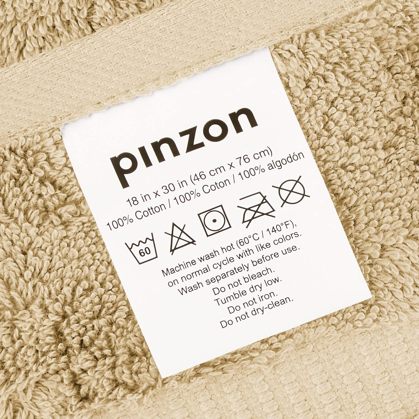 Pinzon Organic Cotton Hand Towels Sand 6 Pack