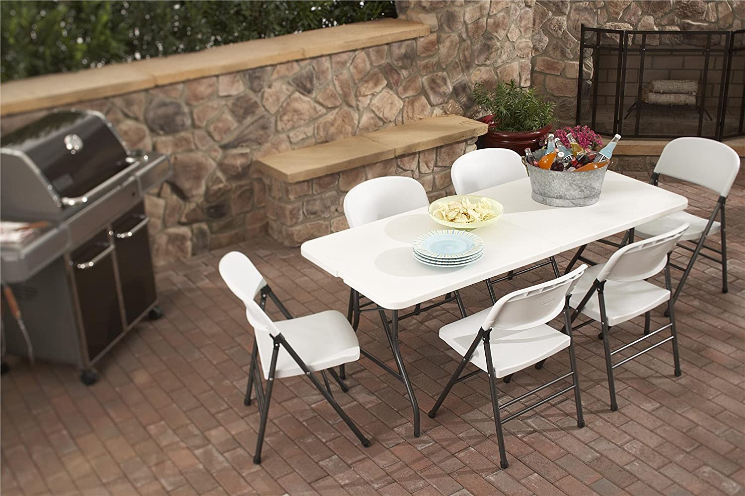 cosco products centerfold folding table 6feet white specked pewter amazonca home u0026 kitchen - 6 Foot Folding Table