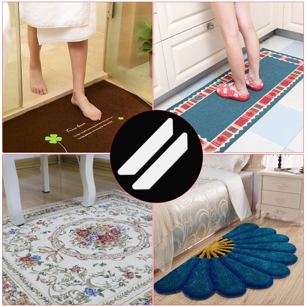 Rug Grippers Black Bbuyagain Co Bbuyagain 12 PCS Upgrade Washable Reusable Anti Curling /& Non Slip Self Adhesive Rug Grippers Pads Thick Premium Carpet Gripper for Rug Corners and Edges Ltd