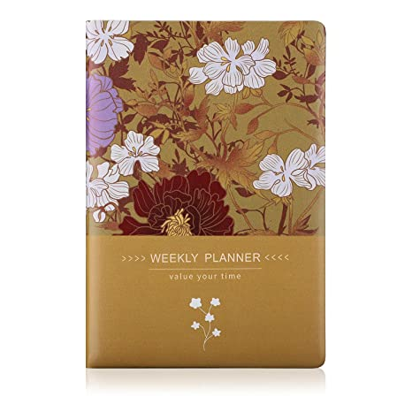 AHGXG Planner 2019-2020, A5 Day Planner Soft Cover with Thick Undated Paper, Yellow