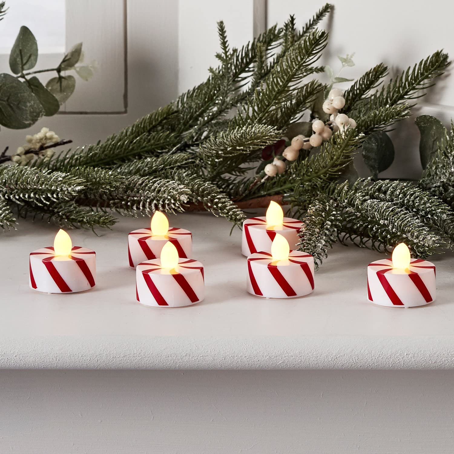 Set of 6 Candy Cane Striped Flameless Battery Operated LED Christmas Tea Lights