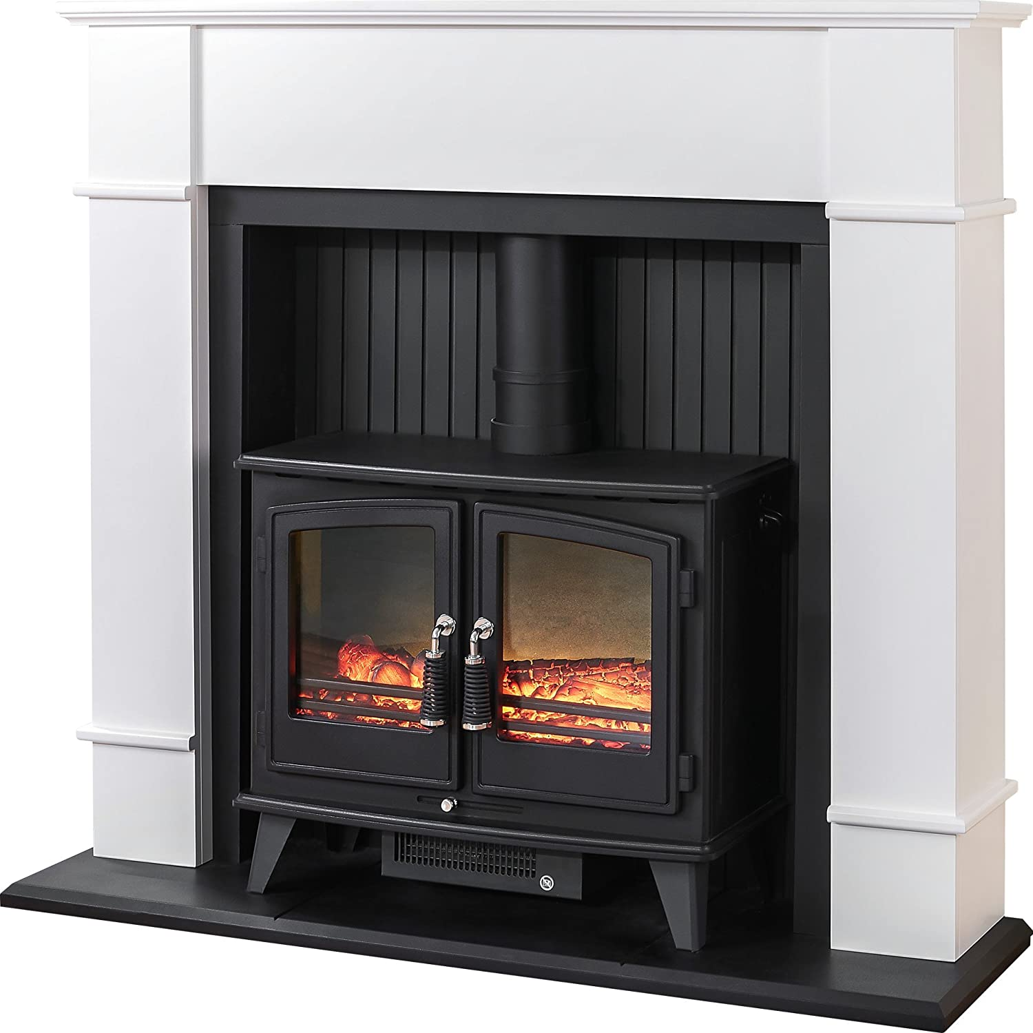 adam oxford stove suite with woodhouse electric stove pure white