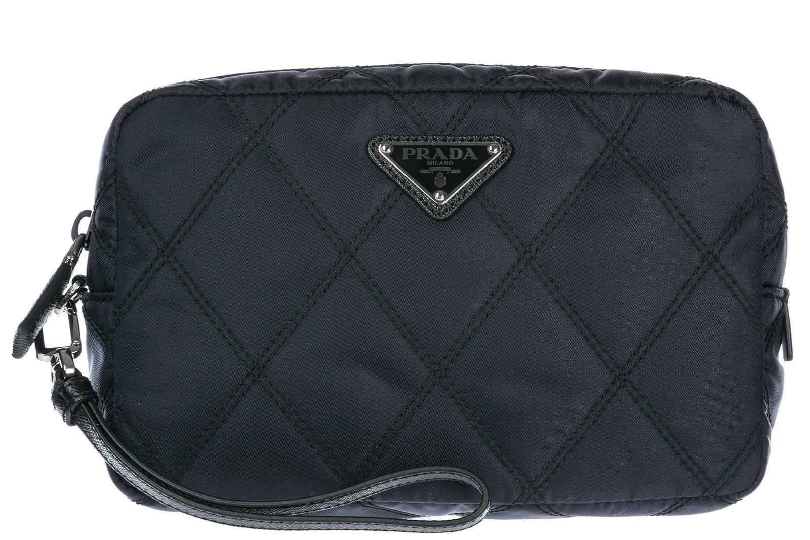 Prada women's travel makeup beauty case in Nylon blu