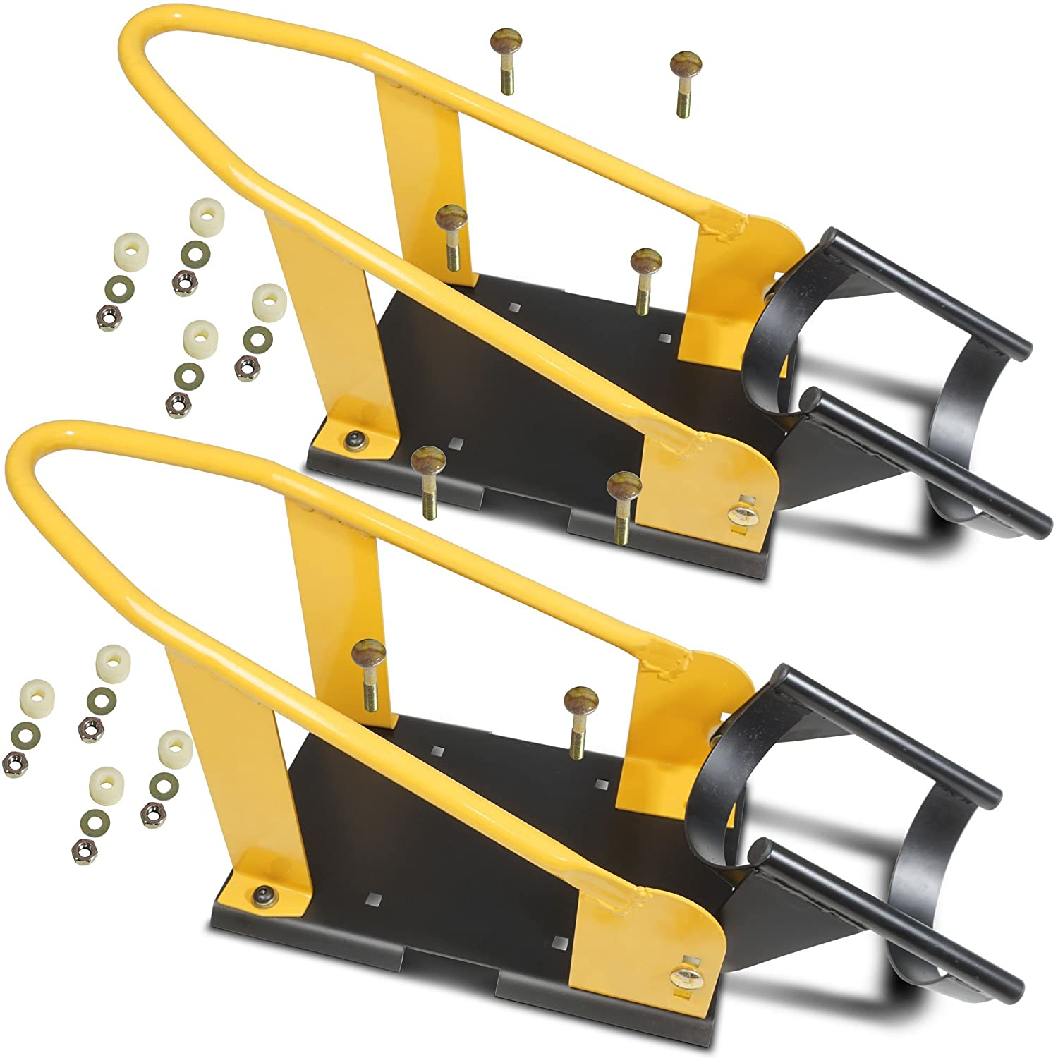 Pair - Titan Adjustable Motorcycle Wheel Chocks 17'-21' Tires Bike Trailer Mount Titan Ramps