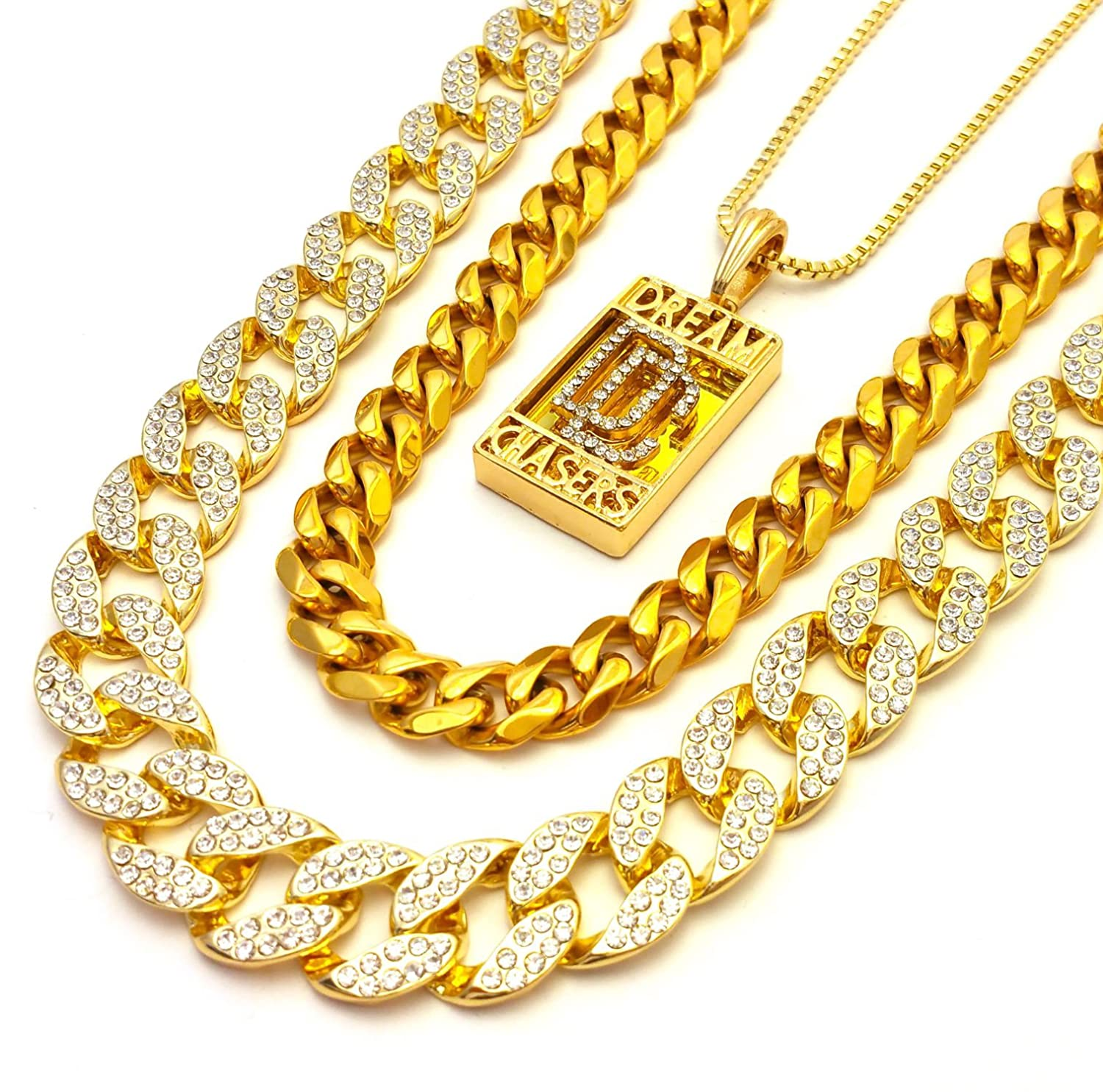 67ce82f20d2fa Mens Iced Out Cubic Zirconia CZ Gold Finish Miami Cuban Link Dream Chasers  Pendant Chain Combo Set of 3 Necklaces