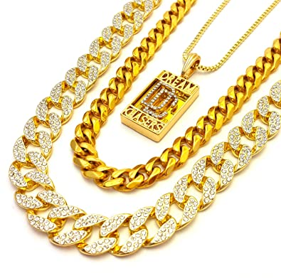 a8a889861f9 Image Unavailable. Image not available for. Color  Mens Iced Out Cubic  Zirconia CZ Gold Finish Miami Cuban Link Dream Chasers Pendant ...