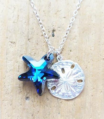 41f2f1aa302f2 Amazon.com: Bermuda Ocean Blue Swarovski Starfish Crystal Sterling ...