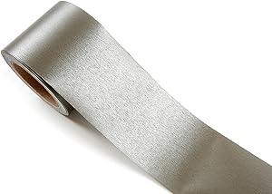 ROSEROSA Peel & Stick Metallic Color Backsplash Hair Line Wall Paper & Border Sticker Self-Adhesive Wallpaper Shelf Liner Table and Door Reform (DM212B : 3.93 inch X 16.40 feet)