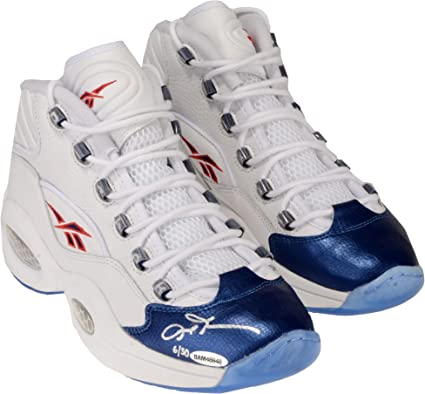 cc713ce601a Allen Iverson Philadelphia 76ers Autographed White   Blue Reebok Question  Sneakers - Limited Edition of 30