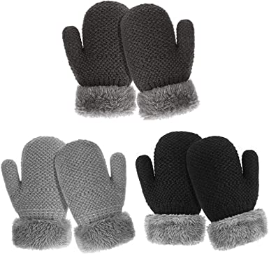6 Pairs Baby Toddler Mittens Winter Warm Thick Gloves Lined Fleece Gloves for Baby Boys Girls