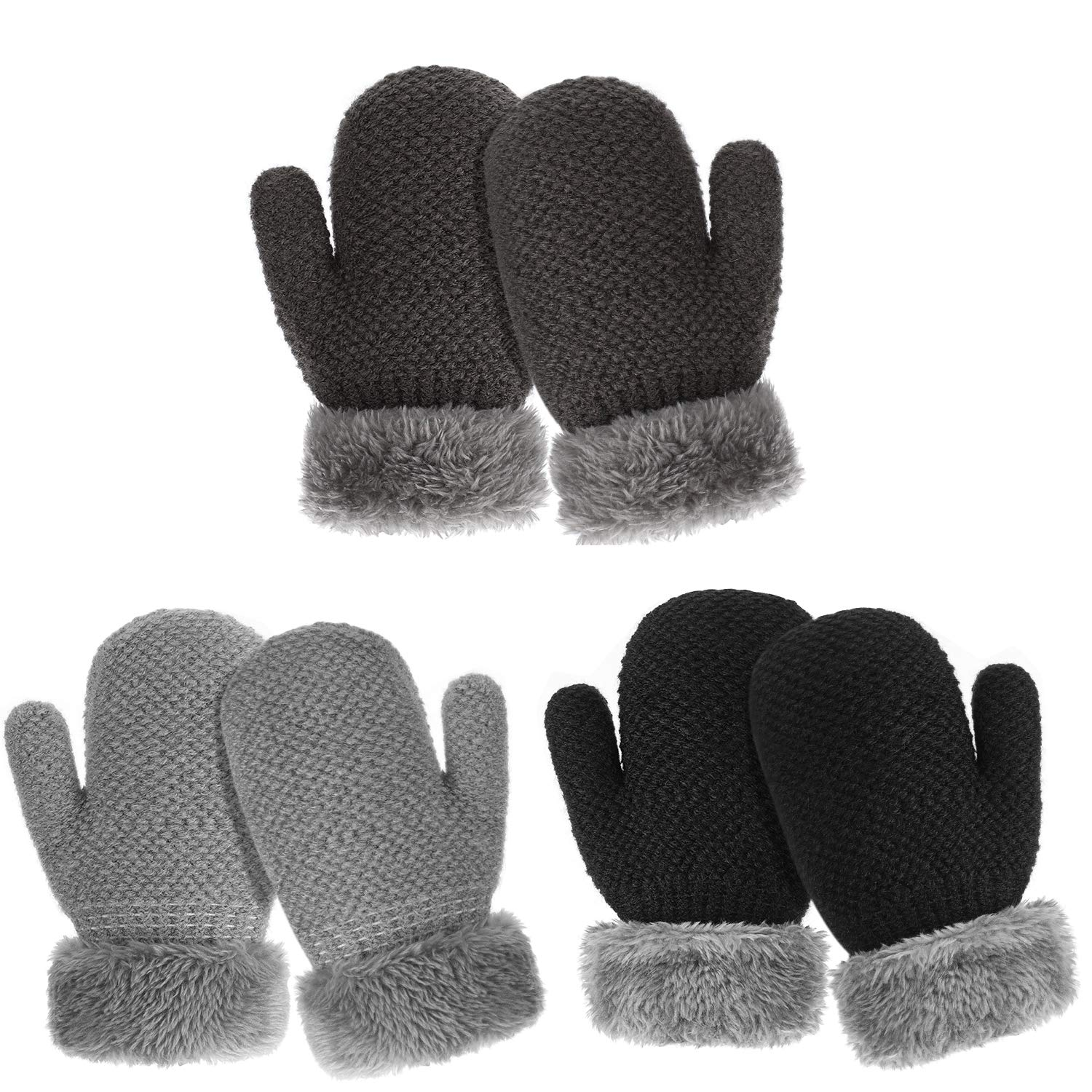 TAGVO 3 Pairs Winter Toddler Warm Gloves Boys Girls Sherpa Lined Knitted Mittens