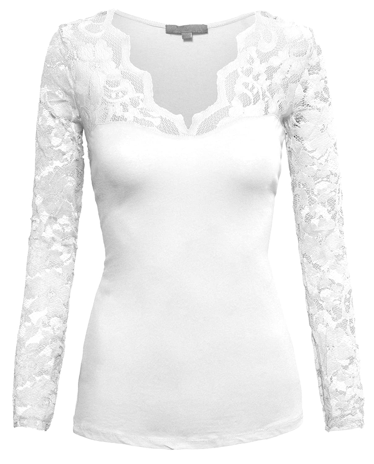 HOT FROM HOLLYWOOD Women's Fitted Cotton Casual Scalloped Floral Lace V Neck Long Sleeve Shirt Top Snow White X-Large 65641-TOP-AMB-WMS-SnwWht-XL