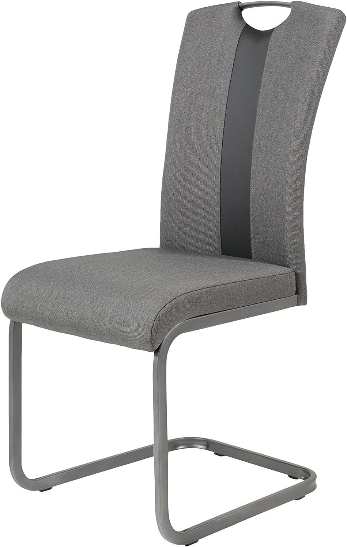 2er SET 700502 AMBER 2S Grau Esszimmerstuhl Küchenstuhl Schwingstuhl Stuhl Webstoff Hela Apollo