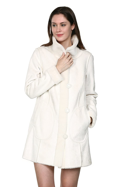 Adelaqueen Großartiger Kunstwildleder Faux Fur Damenmantel mit Blumenmutster Umkehrbarer Mantel