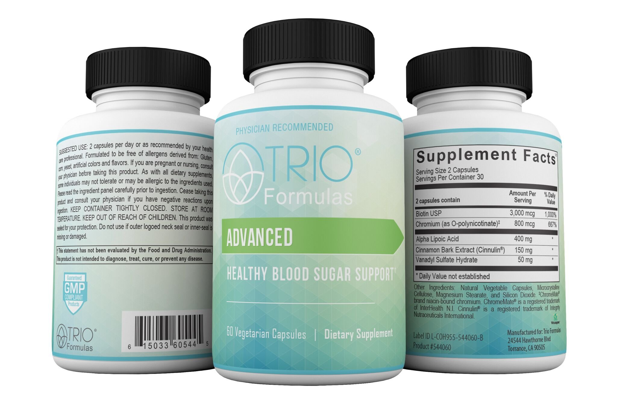 Doctor Recommended Advanced Healthy Blood Sugar-Glucose Supplement-Supreme Science Based Formula with Alpha Lipoic Acid-Chromium-Biotin-Cinnamon Bark Extract-Vanadyl Sulfate- 60 Vegetarian Capsules by Trio Formulas