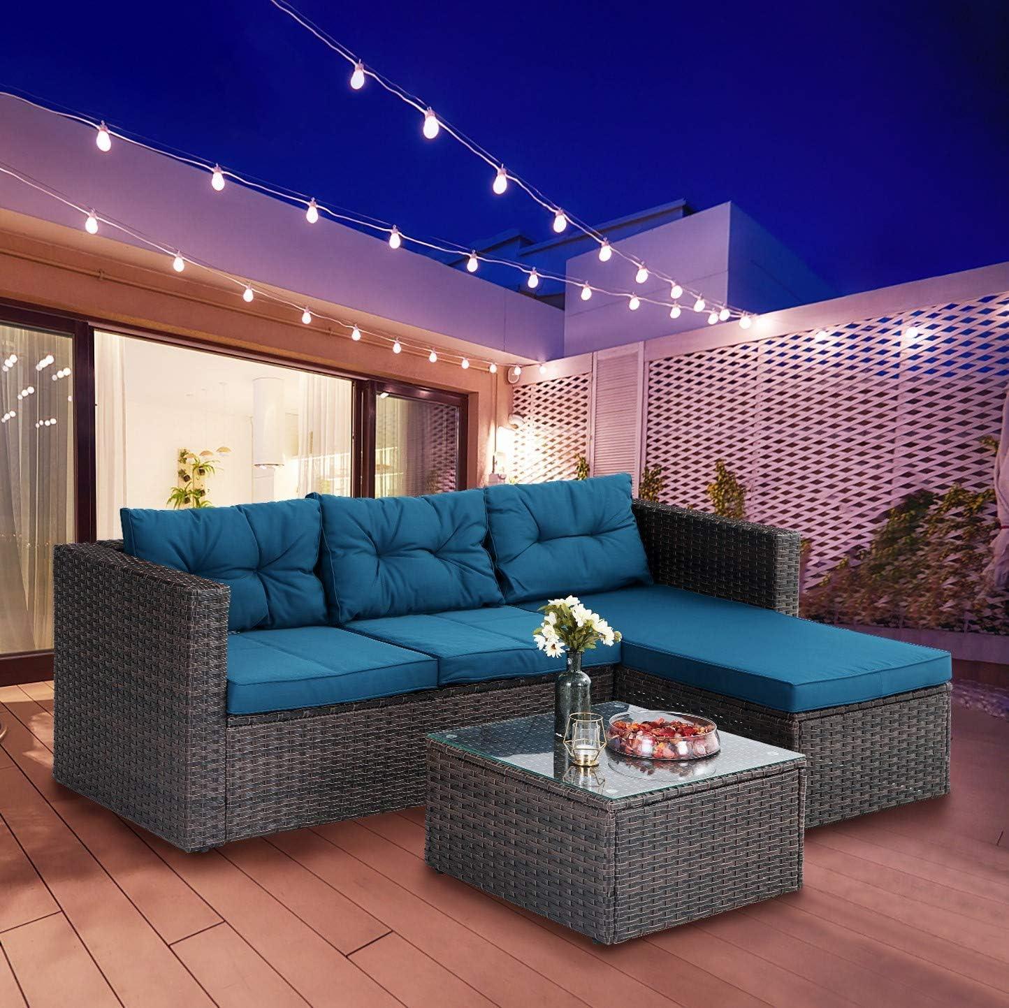 PHI VILLA Outdoor Sectional Rattan Sofa - Wicker Patio Furniture Set (Turquoise)