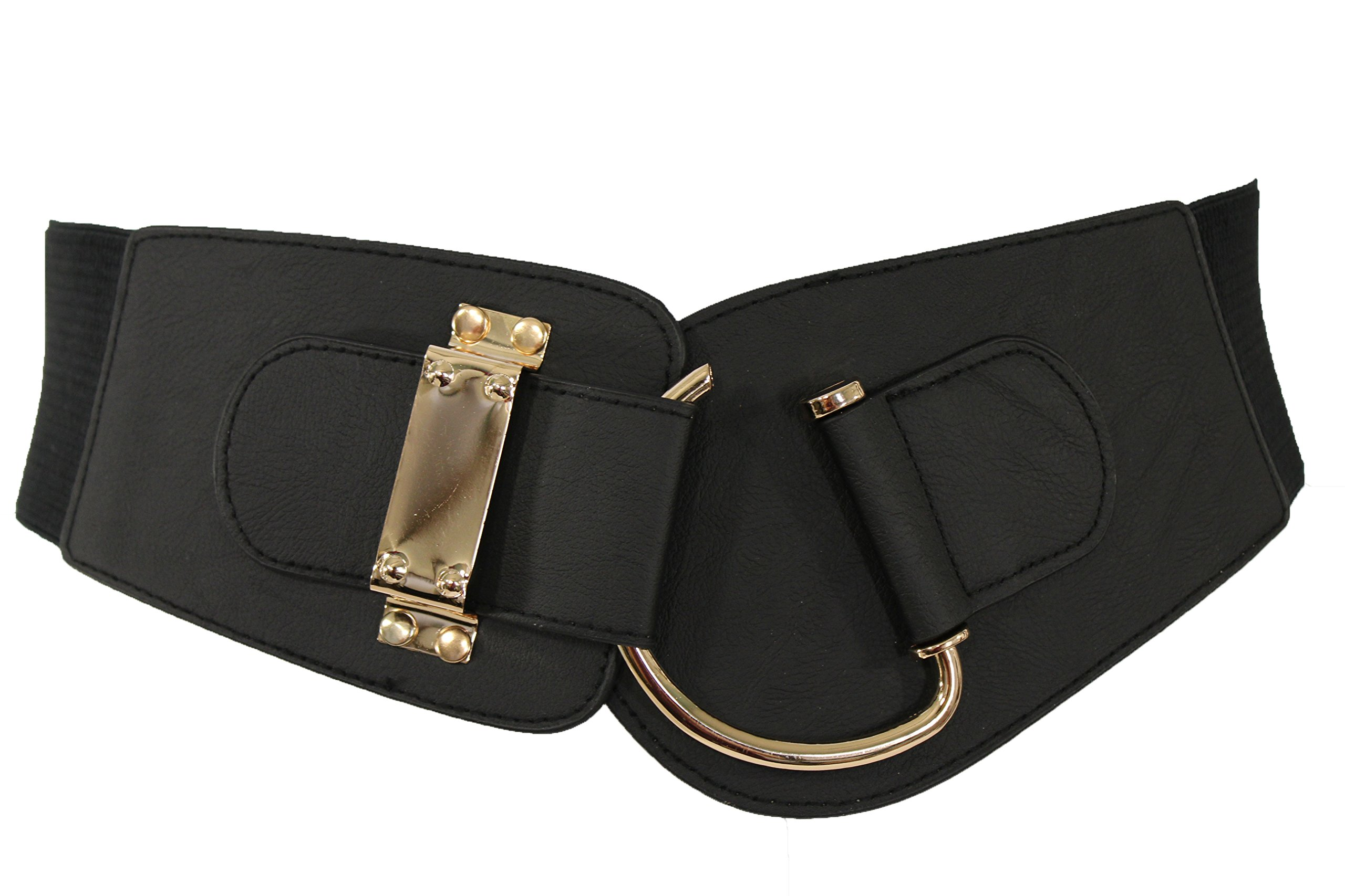 TFJ Women's Wide Fashion Belt Hip High Waist Gold Metal Hook Buckle M L Xl Black (Black)