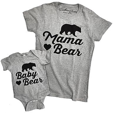 2619514a Southern Designs Matching Mama Bear and Baby Bear Tee Shirt and Baby Romper  (Shirt Small