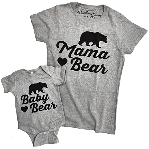 65703d7d725 Amazon.com  Matching Mama Bear and Baby Bear T Shirt and Baby Romper Outfit  (Shirt Large - Baby 24 Month)  Clothing