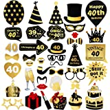 Unomor 40th Birthday Decorations for Party Supplies (40th Birthday Photo Booth Props)