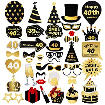 Amazon Unomor 40th Birthday Photo Booth Props 42Pcs For Gold