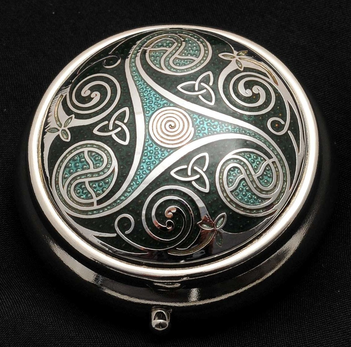 Pill Box (large size) in a Triskeles and Trinity Knot Design in Green Color