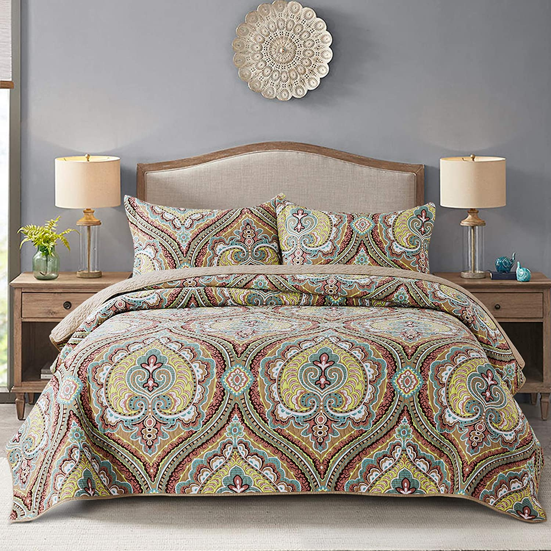 NEWLAKE Cotton Bedspread Quilt Sets-Reversible Patchwork Coverlet Set, European Paisley Blossom Pattern, King Size