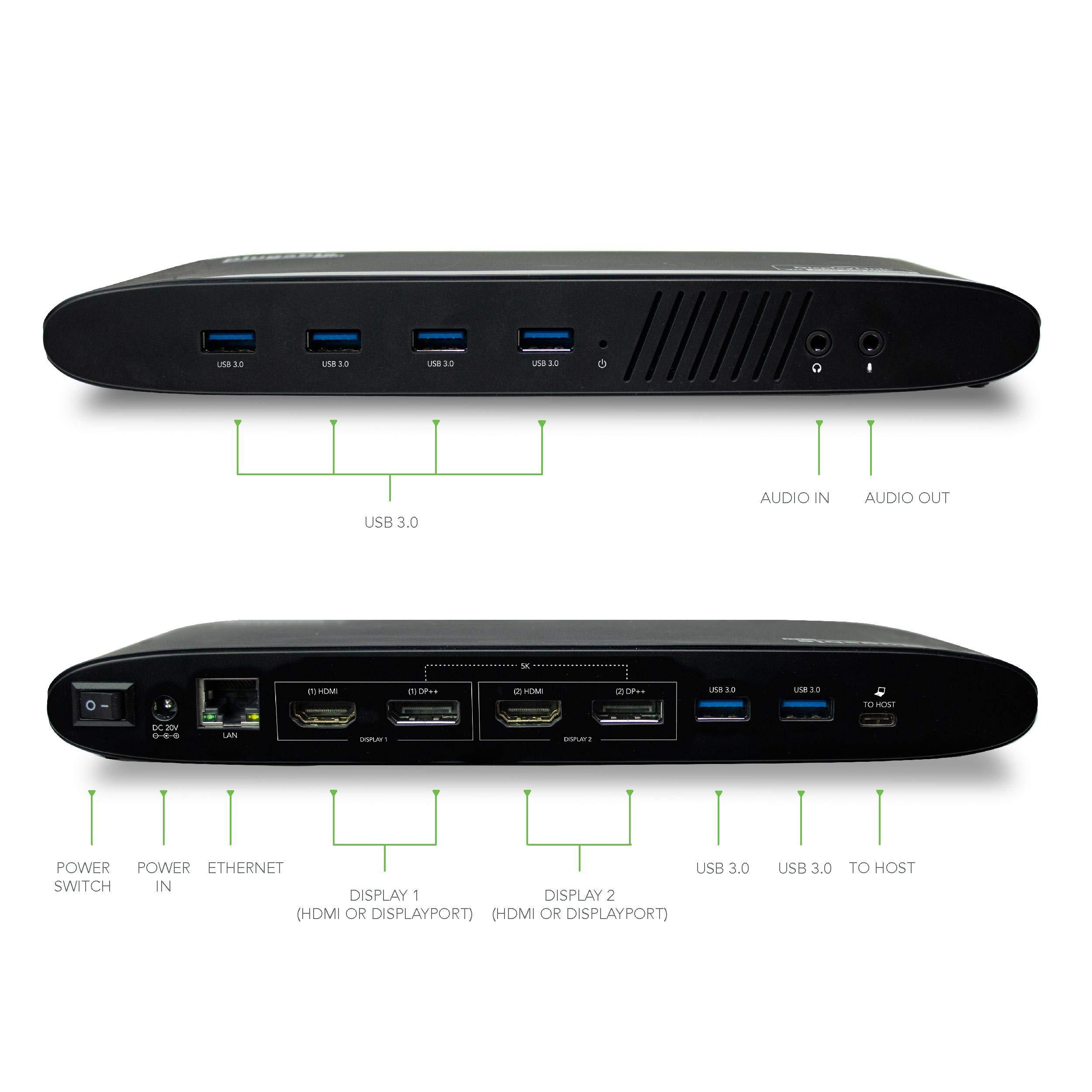 Plugable USB 3.0 Dual 4K Display Horizontal Docking Station with DisplayPort and HDMI for Windows (Dual 4K DisplayPort & HDMI, Gigabit Ethernet, Audio, 6 USB Ports) by Plugable (Image #5)