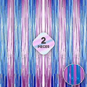 XtraLarge Pink and Blue Foil Fringe Curtain - 3.2x10 Feet | Pack of 2 | Blue and Pink Backdrop for Gender Reveal Party Decorations | Shinny Tinsel Pink, Blue Streamers for Bachelorette, Birthday Party