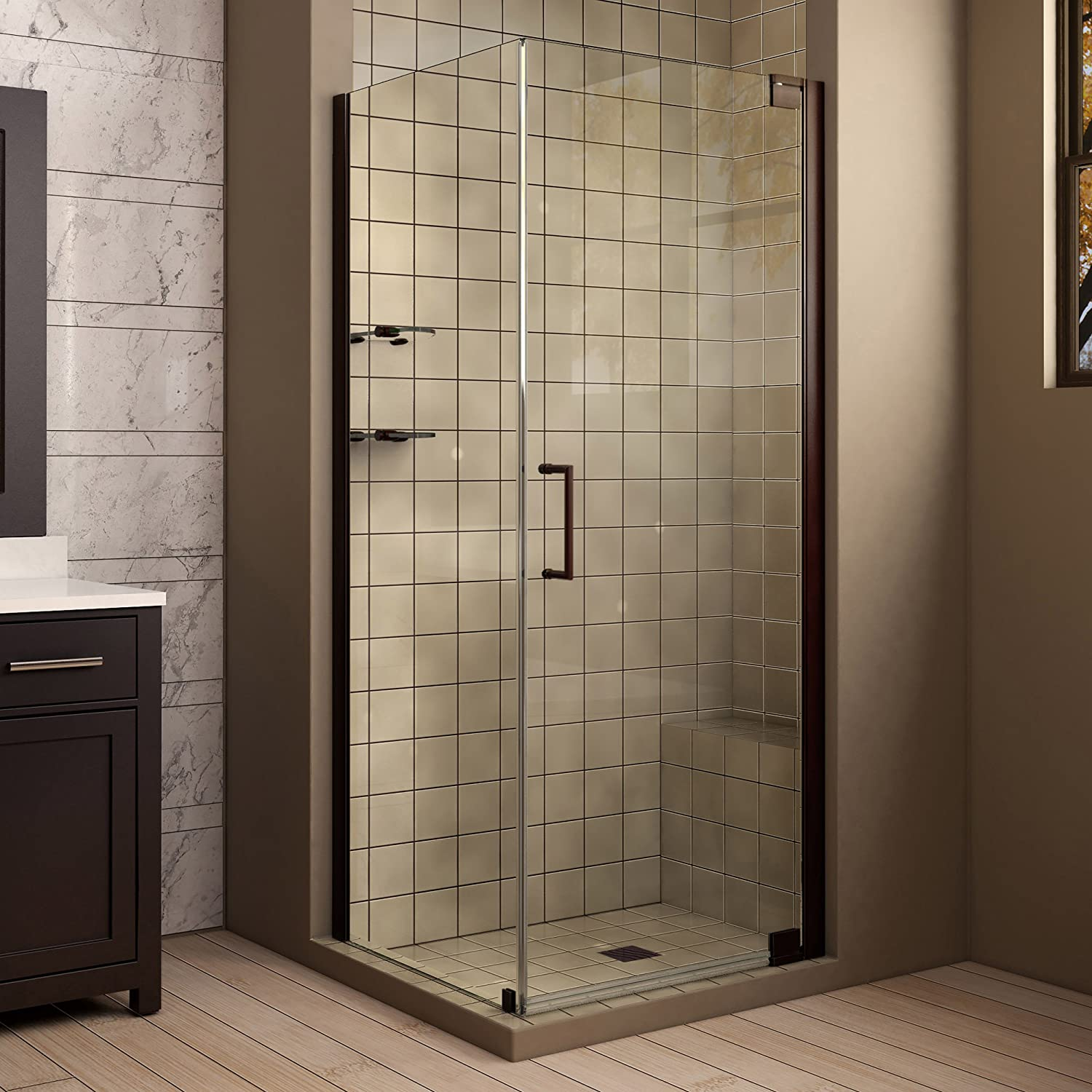DreamLine Elegance 30 in. W x 30 in. D x 72 in. H Frameless Pivot Shower Enclosure in Oil Rubbed Bronze, SHEN-4130301-06