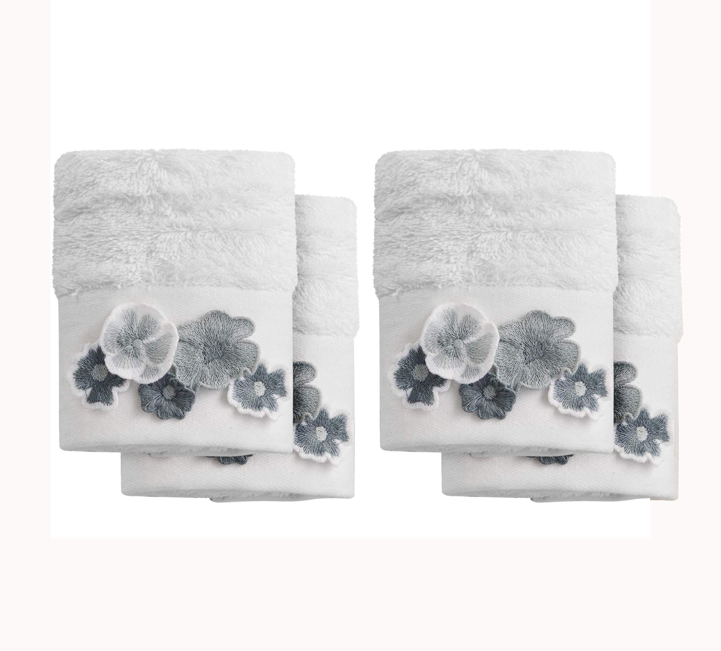 Chakra Floral Fingertip Bamboo Towel Set of 4-11''x19'' Premium Turkish Guest Bathroom Bath Linens, Facecloths, XL Washcloths, Elegant, Multipurpose for Hand, Face, Bath, Great Gift