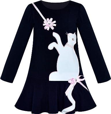 Sunny Fashion Vestido para niña Algodón Casual Manga Larga Gato ...