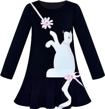 Sunny Fashion Vestido para niña Algodón Casual Manga Larga Gato Bordado 3-7 años: Amazon.es: Ropa y accesorios