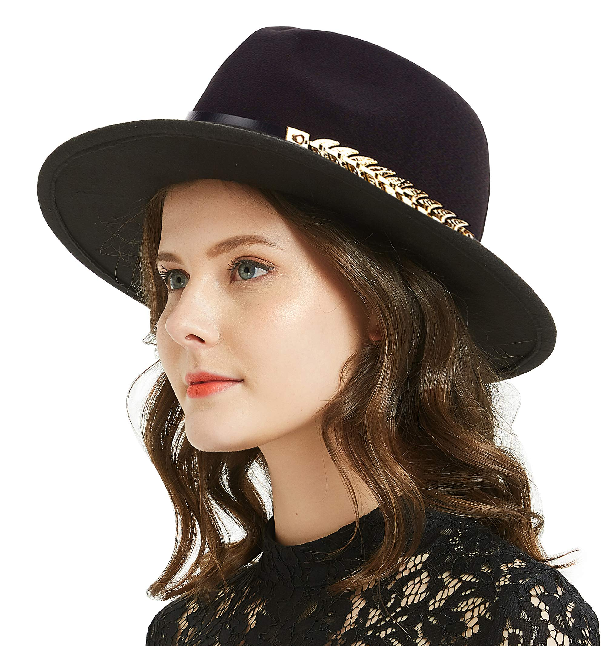 Women or Men Woolen Felt Fedora Vintage Short Brim Crushable Jazz Hat, Leaf Belt 56-58cm