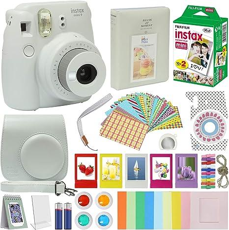 Fujifilm Instax Mini 9 Cámara + Kit de Accesorios para Fujifilm Instax Mini 9 Cámara Incluye cámara instantánea Fuji Instax Film 20 Pack Instax Case con Correa Instax Album Plus Marcos Lentes: Amazon.es: Electrónica