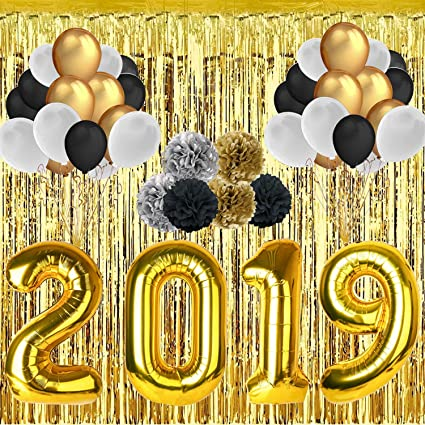30 Pieces 12 Latex Balloons 6 Pieces 10 Paper Flower Balls 2019 Graduation Balloons Party Balloon Kit with 2019 Gold Foil Balloon 40 Inch 118 Foil Meter Rain Curtain