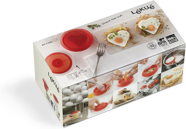 Lékué - Kit de 2 cuece Huevos en Forma de corazón: Amazon.es