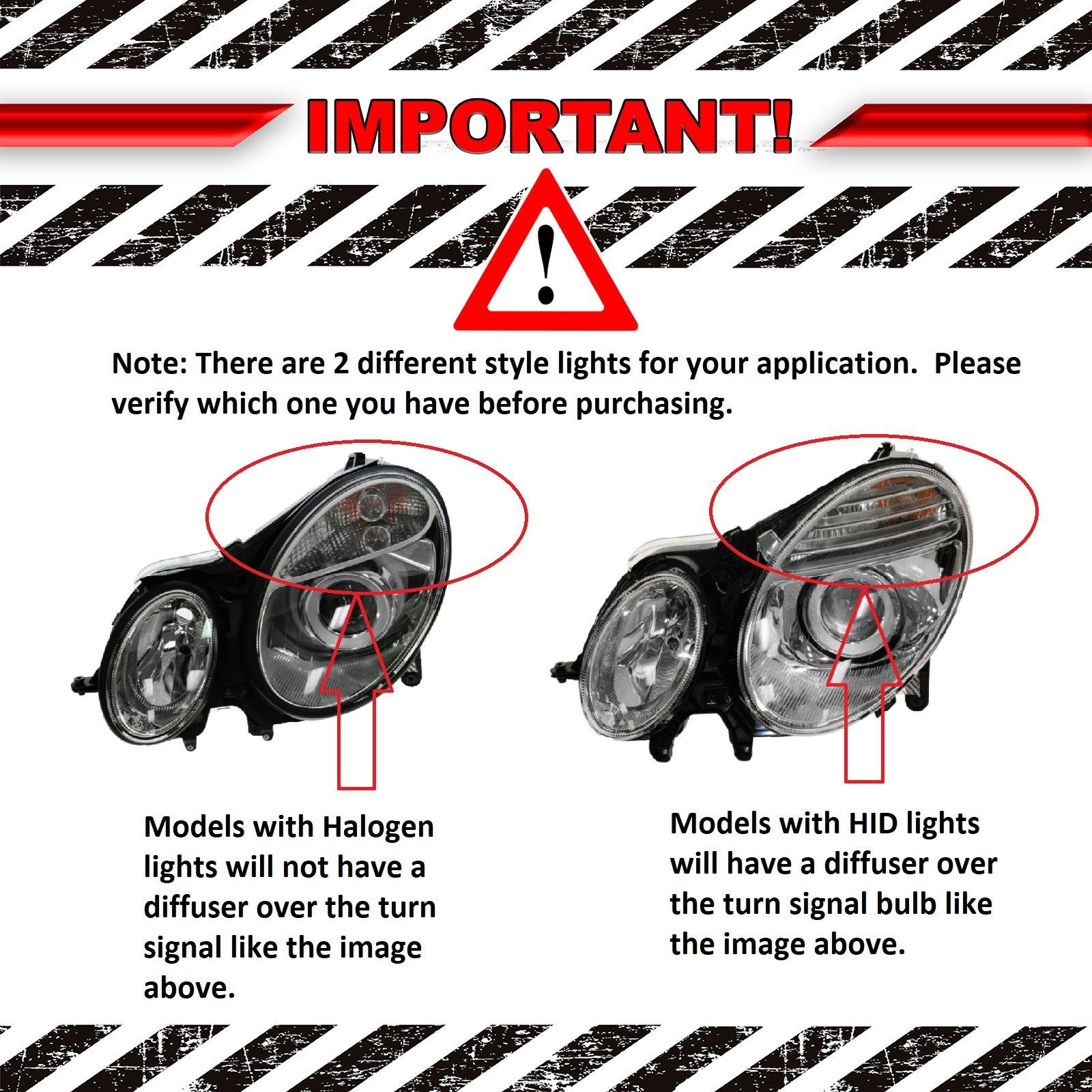 Xtune PRO-JH-MBW21103-C Headlight Mercedes Benz W211 E-Class 03-06 Halogen Don/'t fit HID Models OEM Projector s-Chrome