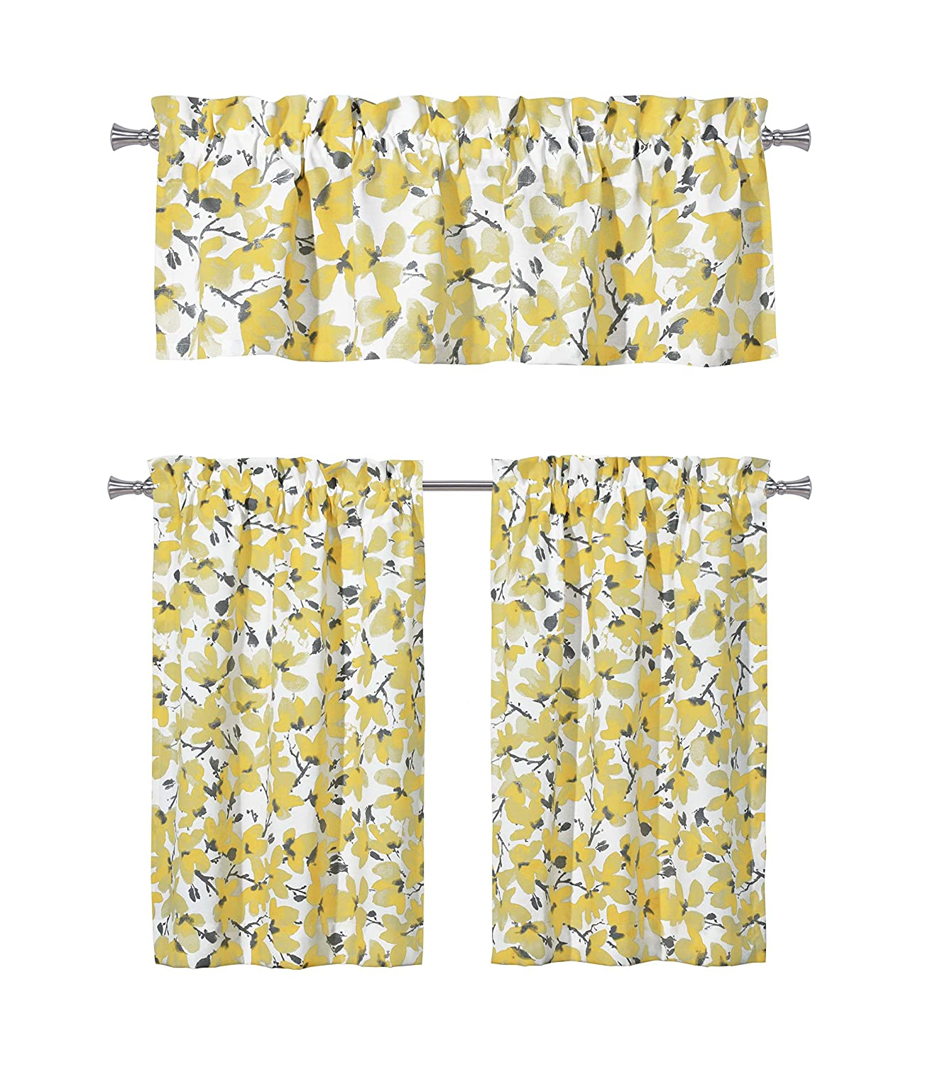 Floral Yellow Grey Kitchen Curtains: One (1) Valance and Two (2) Tiers Set, Rod Pocket Design