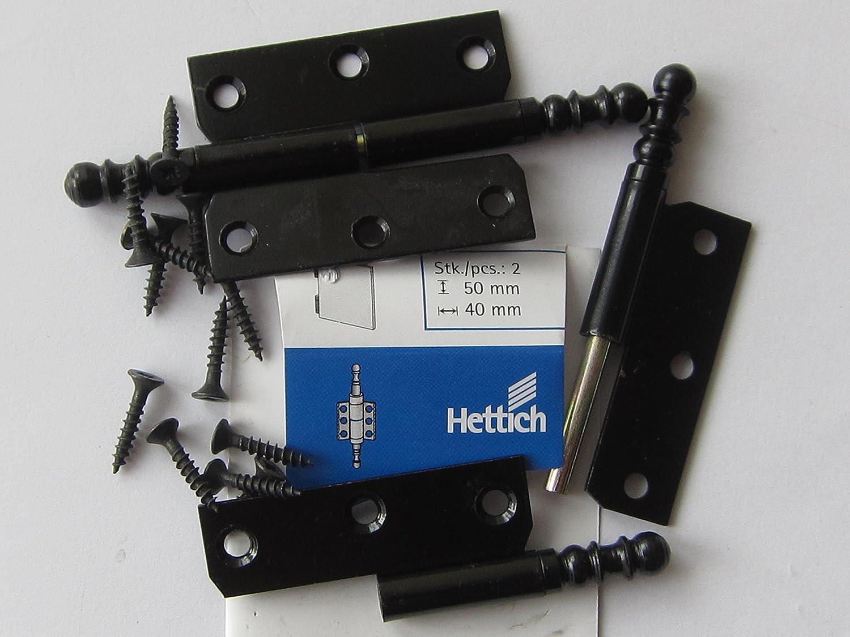1 St/ück rechter Anschlag Hettich M/öbelband mit Zierkopf rechts 9130602 Stahl antik 30 x 40 mm