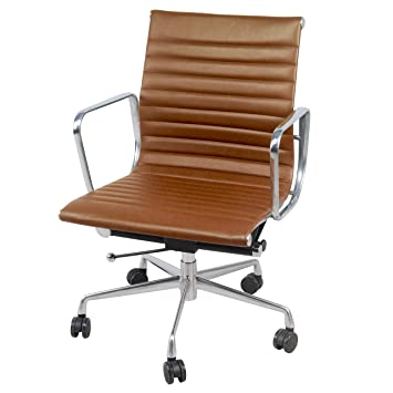 Astounding New Pacific Direct Langley Pu Leather Low Back Office Chair Chrome Legs Vintage Tawny Brown Creativecarmelina Interior Chair Design Creativecarmelinacom