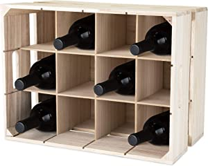 True Wooden Crate Rack Home Decor Holder and Storage Box Wine Accessory and Gift, Removable Inserts, Holds 12 Bottles, One Size, Wood