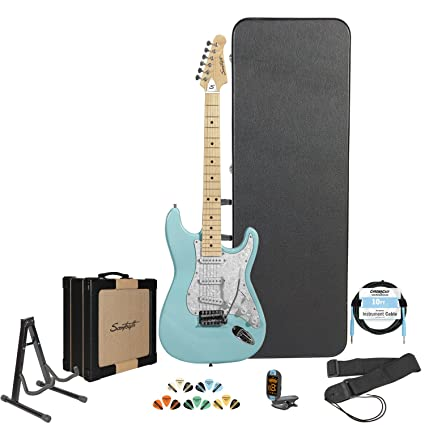 Amazon.com: Sawtooth Daphne Blue Electric Guitar w/Pearl White Pickguard - Includes: Accessories, Sawtooth Amp, Hard Case & Online Lesson: Musical ...
