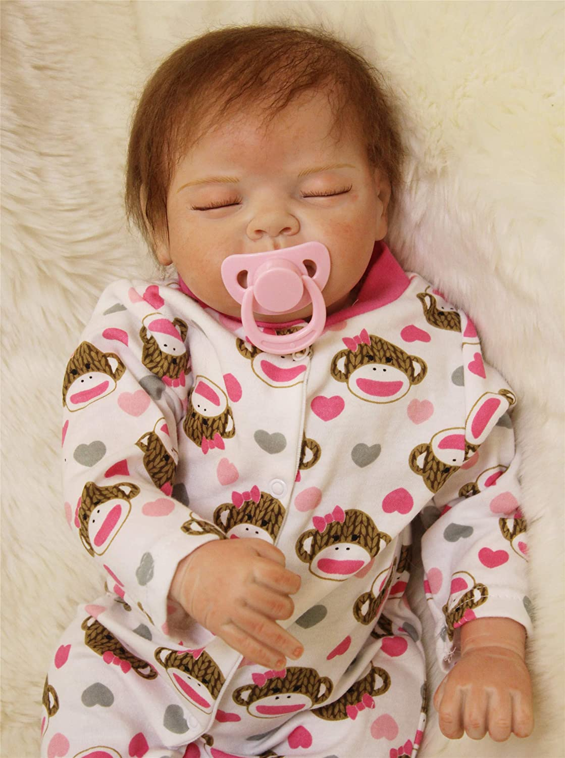 Reborn Baby Doll Girl Sleeping Hot Sale 22 Soft Vinyl Silicone Reborn Doll Realistic Handmade Weighted Doll Cute Children Gifts