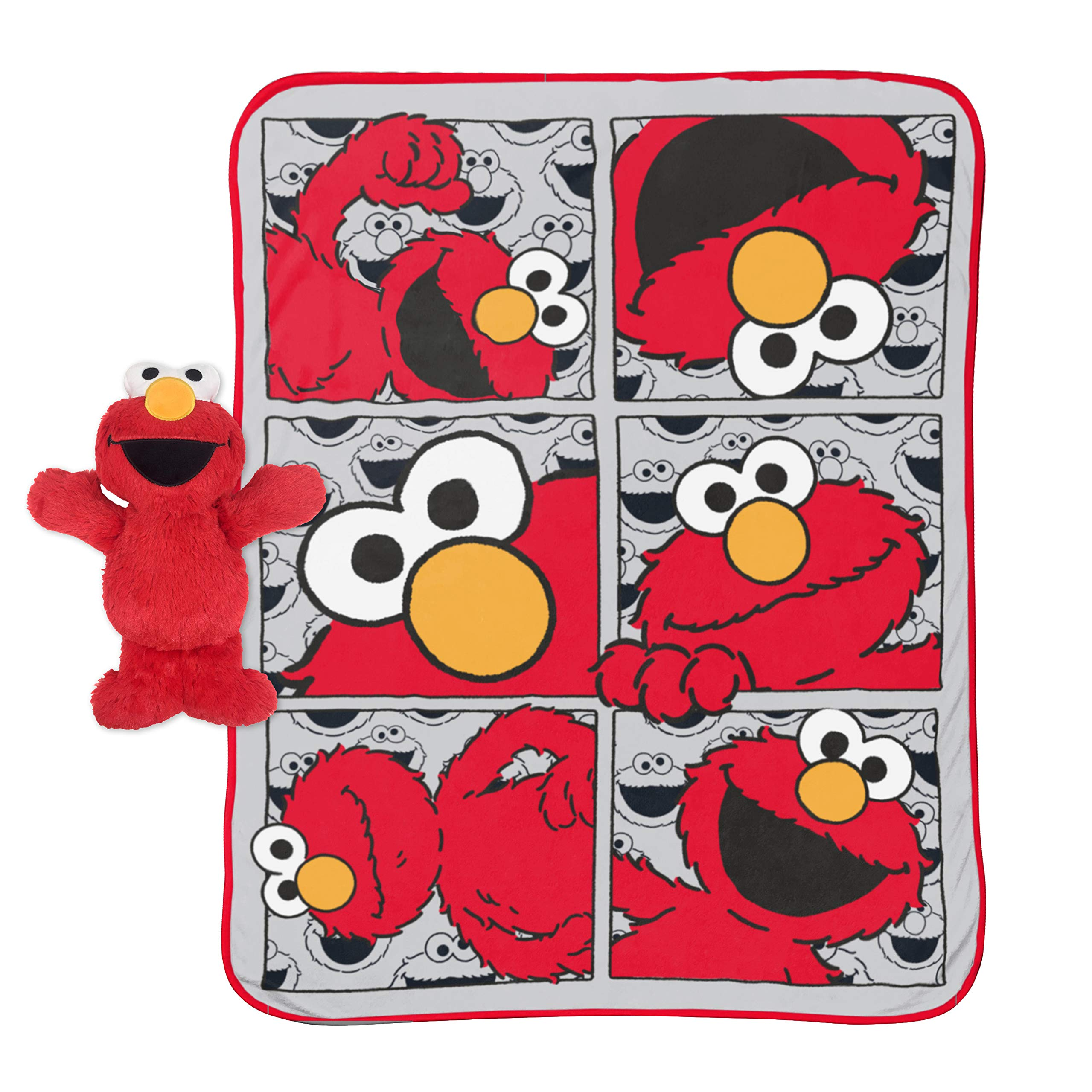 Jay Franco Sesame Street Hip Elmo 12 inch Character Pillow and Throw Blanket Set - Measures 40 inch x 50 inches - Kids Super Soft Character Pillow Set (Official Sesame Street Product) by Jay Franco