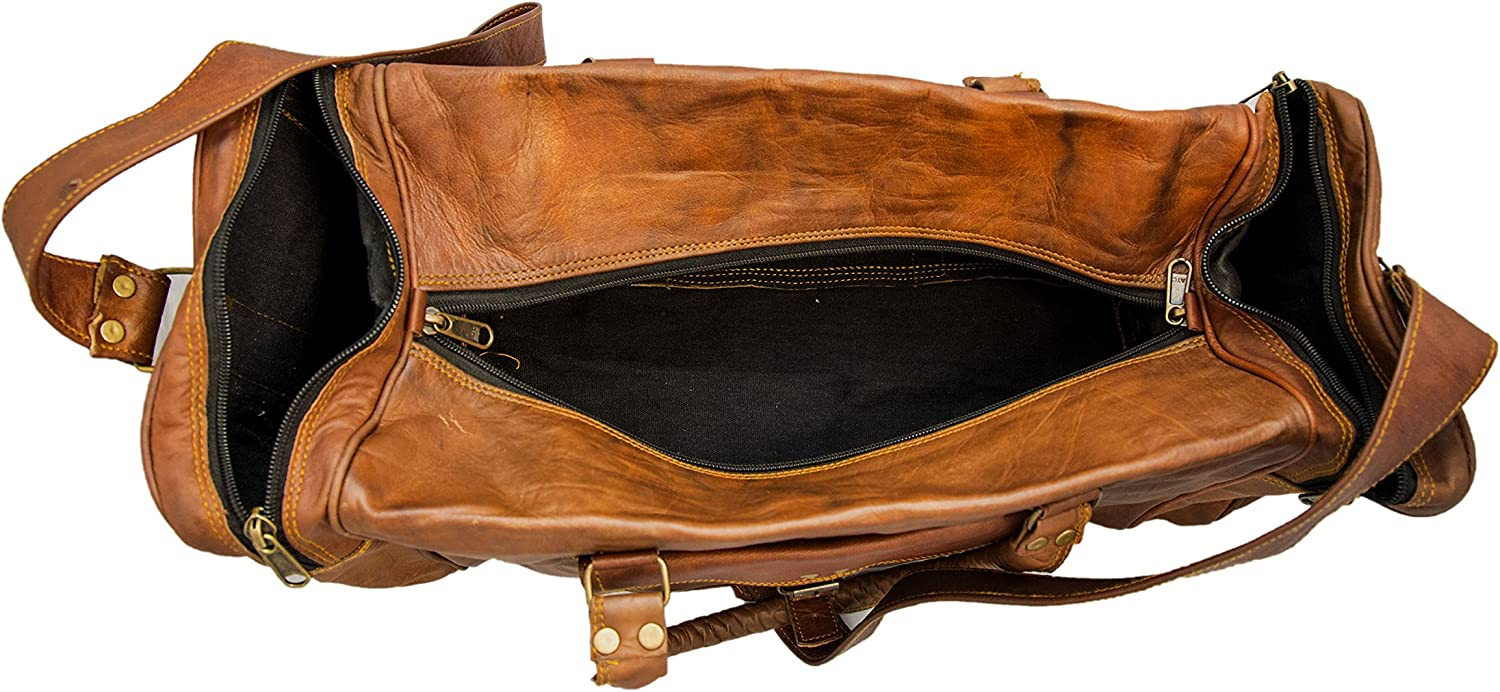 Handcrafted Exports Vintage Leather Duffel Round Shoulder Bag Brown 93