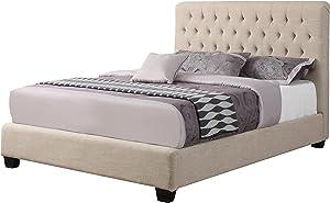 Coaster Home Furnishings Upholstered Bed, Oatmeal