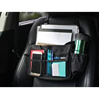 """Think Clean Car Front Seat Organizer (Black -13.8"""" x 11.5"""") Mid-Sized Auto Storage for Files, Laptop, Table and Cell Phone   Heavy-Duty Strap and Secure Buckle"""