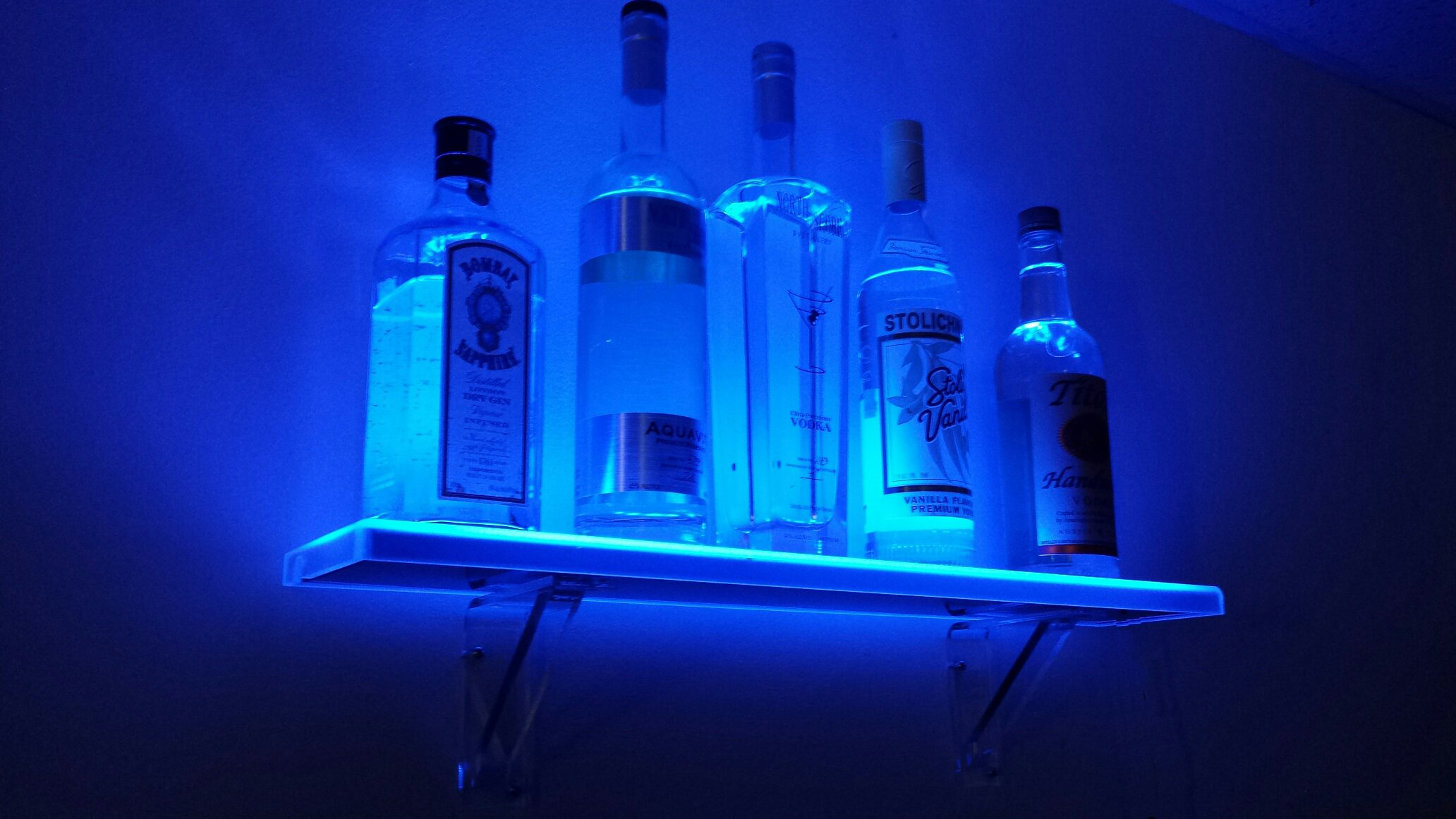 4 Foot Wall Mount LED Liquor Shelf - Made in the USA - Includes Wireless Remote Control, Wall brackets and hardware, and UL Listed Power Supply (48'' L x 4.5'' Deep x .75'' Thick)